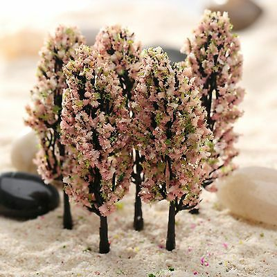20PCS Pink Peach Flower Trees Model Train Fairy Garden Park Scenery Accessories
