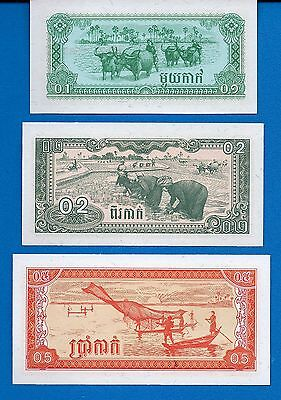 Cambodia 0.1, 0.2, 0.5 Riel  Uncirculated Banknote Set # 15 Asia