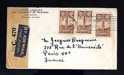 6372-CANADA-AIRMAIL CENSOR COVER WINNIPEG to PARIS (france) 1938.WWII.BRITISH.