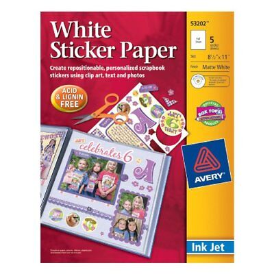 Avery Sticker Paper, 8.5 x 11 Inches, White, Pack of 5 (53202) New
