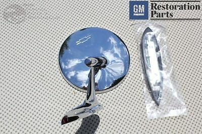 Round Bowtie Outside Rearview Mirror Ribbed Base Chevy Chevelle Impala Nova New