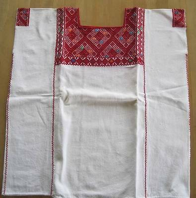 Huipil Chiapas Mexico Hand Woven Blouse White & Red Tzotzil Village