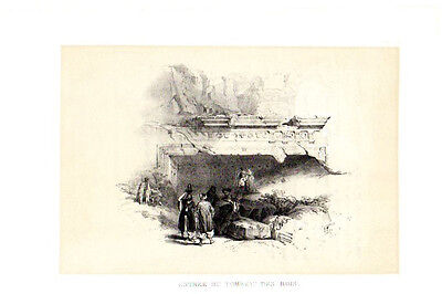 HOLY LAND DAVID ROBERTS ANTIQUE ART PRINT Ancient Tomb Rois 1849 Lithograph