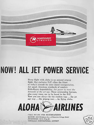 Aloha Airlines 1961 Fairchild F-27 Prop-Jet Now! All Jet Power Service Ad