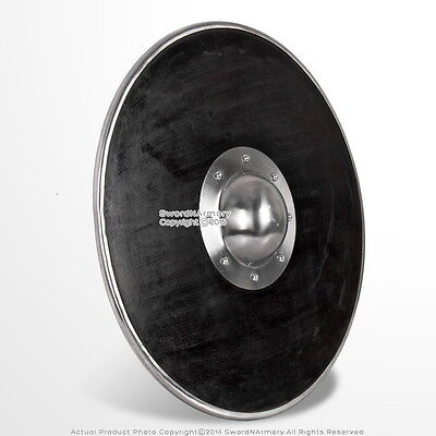 "21"" Functional Viking Norse Wooden Round Shield Steel Boss Reinforced Rim LARP"