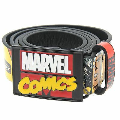 Marvel Mens Superhero Belt Waistband Waist Strap Metal Buckle