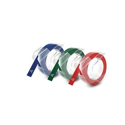 DYMO Embossing Tape, Red, Green and Blue, 3/8-Inch New