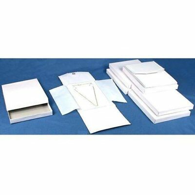 6 White Leather Necklace Jewelry Travel Folder Display Cases New