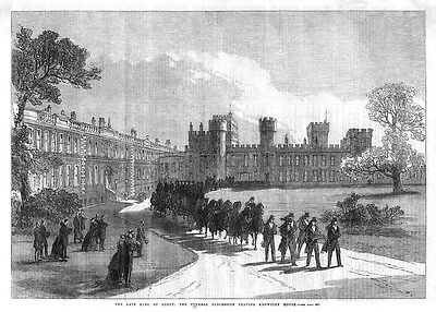 KNOWSLEY HOUSE Funeral Procession of the Earl of Derby - Antique Print 1869
