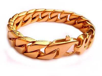 Curb Cuban Heavy Mens Biker Link Bracelet Stainless Steel Gold Tone Chain Solid