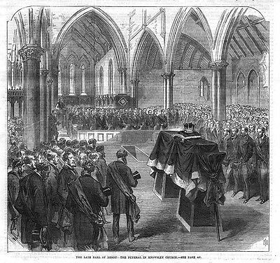 KNOWSLEY Funeral of the Earl of Derby - Antique Print 1869