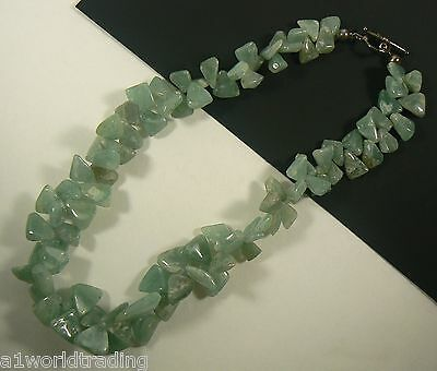 Sterling Silver Cluster Jade Necklace with toggle clasp