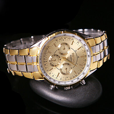 Fashion Men's Luxury Gold Date Dial Stainless Steel Analog Quartz Wrist Watches