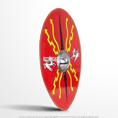 "36"" Roman Armor Centurion Oval Scutum Metal Shield with 14G Steel Umbo Boss LARP"