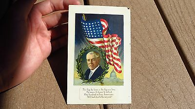 WW1 Woodrow Wilson POTUS Post Card Patriotic Military Army