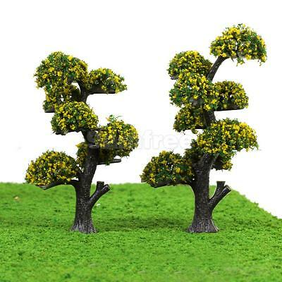 10 Yellow Flower Tree Model Train Railway Diorama Architecture Scenery HO OO