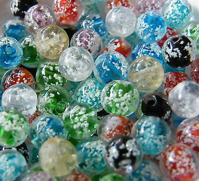 "30pcs 8mm Round ""Glow-in-the-Dark"" Lampwork Glass Beads - Mixed"