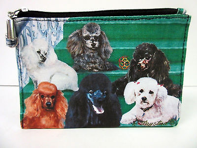 New Poodle Dog Zippered Handy Pouch Make-up/Coin Purse 3 Poodles Dogs