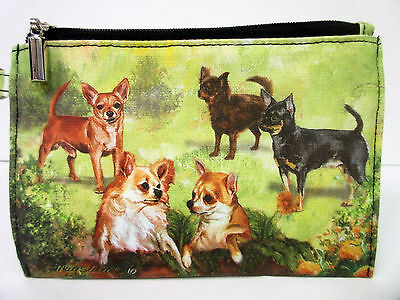New Chihuahua Dog Zippered Handy Pouch Make-up/Coin Purse 5 Chihuahuas Dogs