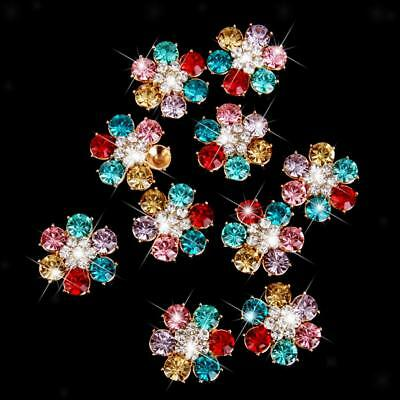 10Pcs Crystal Rhinestone Flower Flatback Buttons Scrapbooking Embellishments