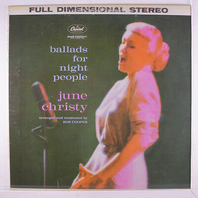 JUNE CHRISTY: Ballads For Night People LP (2 neat clear taped seams) Jazz