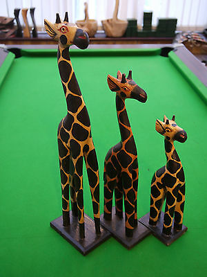 Set of 3 Wooden Giraffe Hand Carved Beautifully Painted from Bali