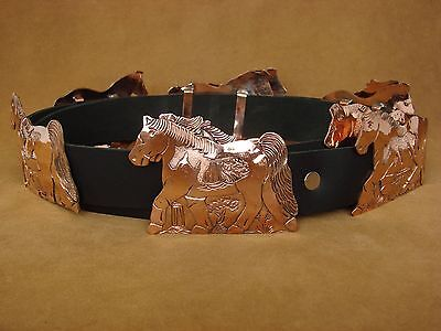 Native American Stamped Copper Horse Concho Belt Lloyd Bencenti