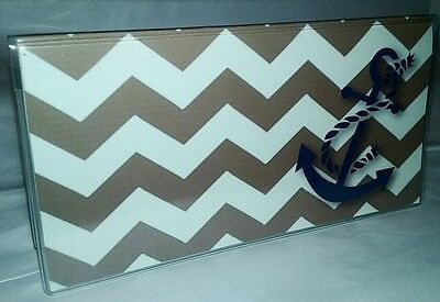 Checkbook Cover Chevron Stripes Anchor Makes a Great Gift!