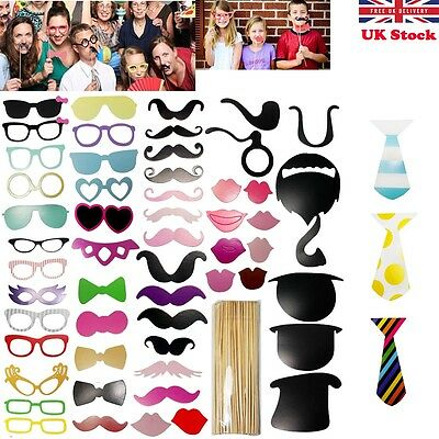 58PCS Photo Booth Props Moustache On A Stick Wedding Birthday Christmas Party