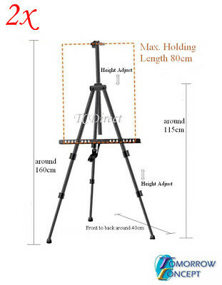 2x Adjustable Art Artist Tripod Easel, Painting Display Stand for Exhibition