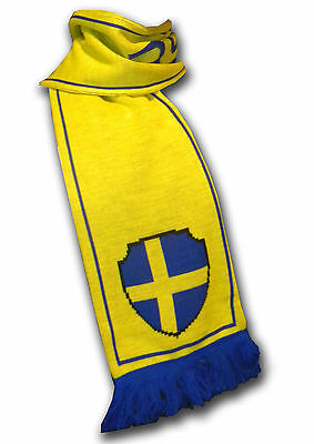 Official Sweden Sverige soccer football knitted supporter fan scarf ultras