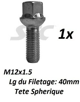 VIS ECROU BOULON DE ROUE JANTE MERCEDES M12x1.5 Lg filetage 40mm