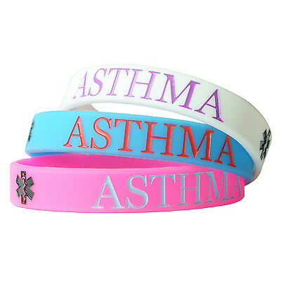 ASTHMA ALERT MEDICAL wristband silicone bracelet bangle gift AWARENESS