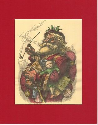 Antique Santa Claus Christmas 1881 Print Matted Thomas Nast