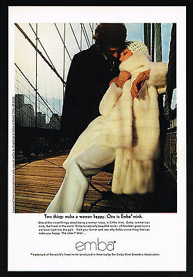1969 Emba Beige Mink Fur Coat Muffler Photo Vintage Print Ad