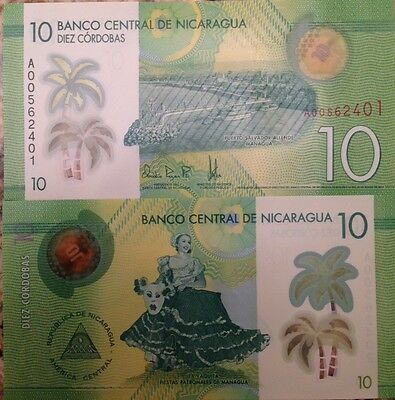Nicaragua 2015 10 Cordobas Unc Polymer Banknote P-New Buy From A Usa Seller !!!