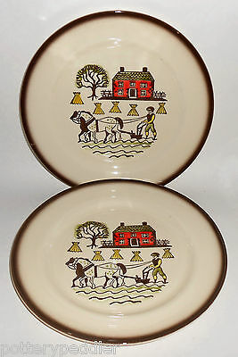 Metlox Pottery Poppy Trail Pair Colonial Heritage Dinner Plates! MINT