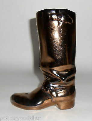 Rosemeade Pottery Black Metallic Cowboy Boot Vase! MINT