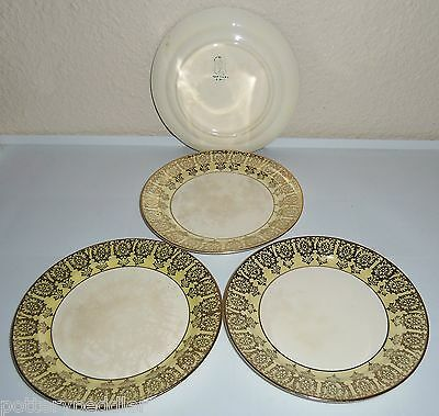 Taylor Smith Taylor Yellow W/Gold Decoration Set/4 Bread Plates!