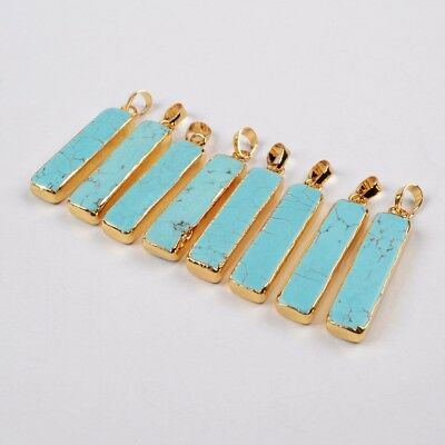 5Pcs Gold Silver Plated 20mm Heart Blue Howlite Turquoise Connector Women BG1782