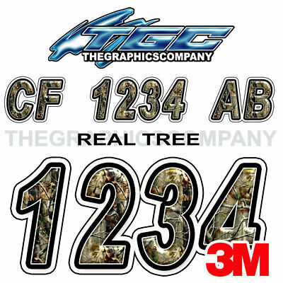 REAL TREE Custom Boat Registration Numbers Decals Vinyl Lettering Stickers USCG