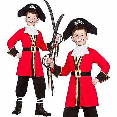Boys Kids Childs Captain Hook Book Week Fancy Dress Pirate Costume Outfit Hat