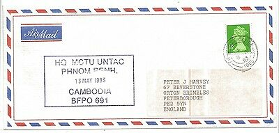 1993 British Forces UNTAC Cambodia Air Mail Cover BFPO 691 FPO 1005