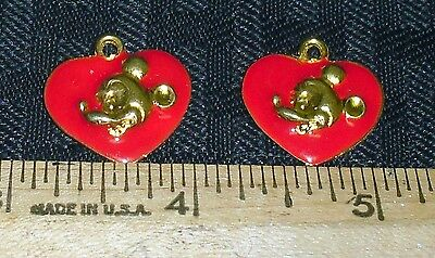 Vintage Enamel Mickey Mouse Heart Shaped Charm Lot (2) Nice Condition Gold/red M