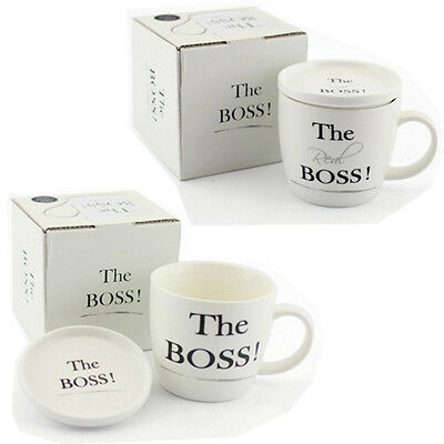 The Real Boss Mug With Coaster Lid Gift Set Box Coffee Tea Cup Kitchen China New