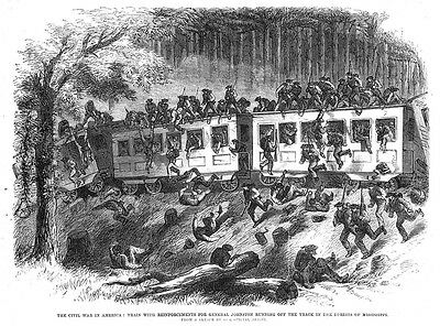 AMERICAN CIVIL WAR Troops for General Johnson Arrive by Train-Antique Print 1863