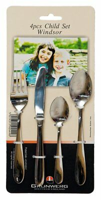 Grunwerg Windsor 4 Piece Child Cutlery Set Stainless Steel Childrens Kids Childs