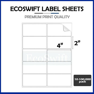 10-100,000 4 x 2 Premium Laser/Ink Address Shipping Adhesive Labels 10 per sheet