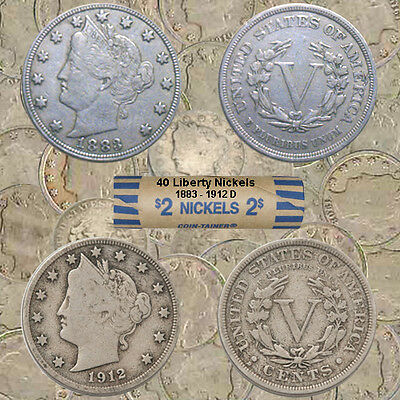 Liberty Head Nickels – Roll of 40 Coins Including 1883 & 1912 D - Average Cir.