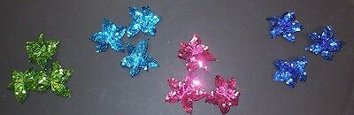 "New lot of 3 sequin flowers 4 colors offered Costume Accessory Hair piece 3"" dia"